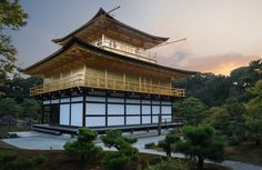 Five views of the Golden Pavilion or Kinkaku, the main attraction of Rokunji (aka Kinkakuji) temple in Kyoto, Japan. Main Attraction, Travel Images, Rear View, Big Ben, Temple, Cabin, Kyoto Japan, Architecture, House Styles