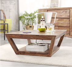 Taper Wooden coffee center table with bottom shelf ! Solid Wood Coffee Table, Coffee Table With Storage, Coffee Tables, Buy Furniture Online, Selling Furniture, Solid Wood Furniture, Upholstered Furniture, Coffee Center, Center Table