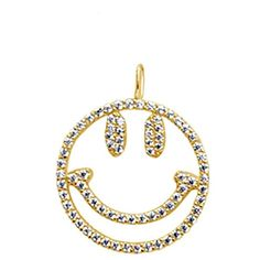 Talia Naomi - Why So Serious Pendant Gold (1,225 CNY) ❤ liked on Polyvore featuring jewelry, pendants, gold pendant, gold jewelry, gold jewellery, pendant jewelry and pave pendant