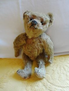 """Darling Antique 1910's Mohair Jointed Limbs 10"""" Steiff Teddy Bear comes from the Ruby Lane Shop of Vanity Flair Vintage."""