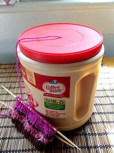 DIY Yarn Holder / Dispenser via Repurposed Coffee Creamer Tub