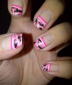 Nails by Valentine: Pink Camouflage Nails Pink Camo Nails, Camo Nail Art, Camouflage Nails, Cute Nails, Pretty Nails, Country Nails, Nailart, Hair Skin Nails, Nail Tips