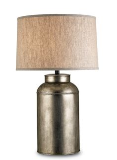 "Modernized Tea caddy lamp. Steel base in antique nickel finish topped with a natural linen shade. 32"" High, 19"" Diameter"