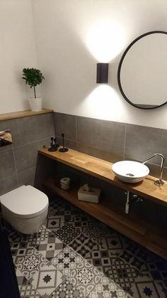 Guest toilet - retro tiles - oak - - ideas - Informations About Gäste WC – Retro Fliesen – - Oak Bathroom, Guest Bathrooms, Modern Bathroom, Small Bathroom, Master Bathroom, Bathroom Ideas, Budget Bathroom, Tiled Bathrooms, Bathroom Black