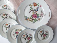 Vintage 1940s German bird floral serving platter and set of 6 dessert plates,  $42.50 at Jenscloset on etsy
