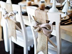 Rustic Chair Decorations For the rustic-style party, brown checkered napkins are tied into a bow with jute twine and attached to strips of wide burlap ribbon to hang over the chair backs.