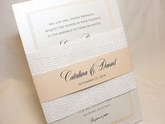 FARAH Embossed Floral Hand Made Paper Wedding Invitations on Etsy, $753.90 AUD