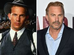 Kevin Costner (1987, 2015) - Paramount Pictures/AP Photo; Alberto E. Rodriguez/Getty Images for Disney