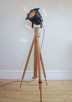 Theatre/Stage Wooden Tripod Lamp -Industrial/Retro Chic Floor Light - Matt Black