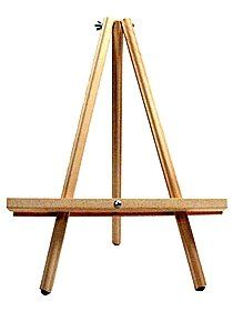 JJ Wooden Table Easel.The perfect easel for display or for the beginner artist. Rubber tips on the legs help it stand sturdy. 20 in. tall.