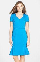 Nue by Shani Satin Trim Ponte Tulip Hem Dress