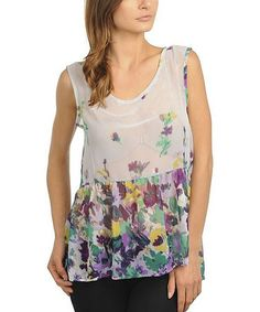 Take a look at this Lilac Floral Sheer Tank by Ami Sanzuri on #zulily today!