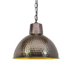Modern industrial or farm cottage this hammered metal pendant is the perfect acessory , hung in a line over kitchen bench or dining room table will bring character and warmth to any home, pair with a LED Globe Bulb of your choice 240V E27 Supplied with Bronze base and chain. Interior is Gold Size: 330mm dia, base 110mm dia Color: Bronze Globe Bulb, Metal Shades, Metal Pendant, Light, Bronze, Hammered Metal, Metal, Modern Industrial, Ceiling Lights