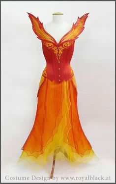 Reminds me of Phoenix or Firestar: Royal Black Couture and corsetry