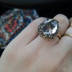 Stamped 52 ring swarovski Swarovski diamond rink with small,swarovski crystals Swarovski Jewelry Rings