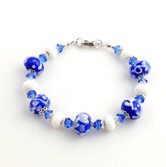 Blue and White Beaded Crystal Lampwork Floral Bracelet, Floral Bracelet, Lampwork Jewelry, Glass Bead Jewelry, Gifts, Easter
