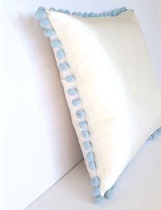 Ivory Silk Pastel Blue Pom Pom Square Cotswold Cushion - Angle