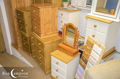 Large selection of solid wood furniture on display in our showrooms