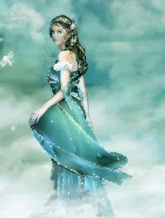 Glitter surrounds her...