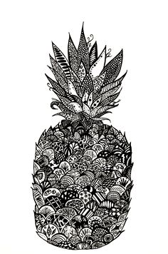 Rooster, Pineapple, Draw, Animals, Animales, Animaux, Pine Apple, To Draw, Sketches
