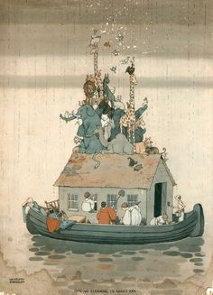 Would love some of these framed for the shop. by William Heath Robinson, vintage print on board.