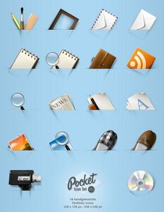 This set of free portfolio icons includes 18 different icons, all of which appear to be peeking out of pockets.