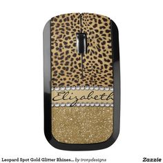 Leopard Spot Gold Glitter Rhinestone PHOTO PRINT Wireless Mouse