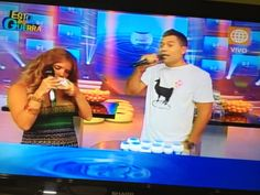 "*One of the highest rated shows in PERU ""Esto es Guerra"" host's wearing Kapo Clothing's ""LLAMA LOVE"" tshirt... check it out!!!"