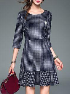 A-line Sleeve Printed Vintage Geometric Mini Dress Simple Dresses, Casual Dresses, Fashion Dresses, Summer Dresses, Look Fashion, Fashion Design, Dress Up Costumes, Indian Designer Wear, Business Fashion