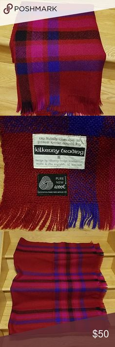 """Vintage Irish wool shawl Beautiful plaid shawl in pure new wool  Red, purple, pink, black Dimensions 48.5"""" by 66"""" Made in the Republic of Ireland Kilkenny Trading Accessories Scarves & Wraps"""