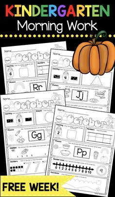 Kindergarten Morning Work – Phonics – Sight Words – Numbers and Counting – Alphabet Tracing – Shapes FREE Halloween and Pumpkin Printable Worksheets - Kids education and learning acts Kindergarten Morning Work, Kindergarten Freebies, Kindergarten Lesson Plans, Homeschool Kindergarten, Homeschooling, Kindergarten Readiness, Kindergarten Centers, Literacy Centers, Preschool Printables