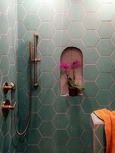 I like the complimentary tile in the nook diy bathroom decor A Family Affair: Guest Bathroom Decoration Inspiration, Decoration Design, Bathroom Inspiration, Decor Interior Design, Interior Decorating, Decor Ideas, Wall Ideas, Diy Bathroom, Small Bathroom