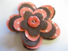 Fabric and Felt Flower Hair Clip in Bright Coral Polka Dots and Brown Felt with Button