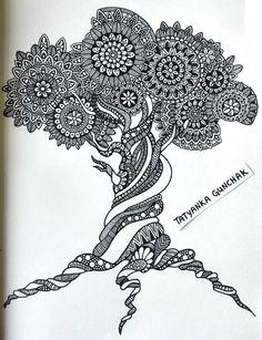 zentangle by Tatyanka-Gunchak on DeviantArt Mandala Design, Mandala Pattern, Zentangle Patterns, Doodle Art Drawing, Zentangle Drawings, Zen Doodle, Zentangles, Doodle Tree, Mandala Artwork
