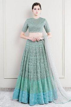 The Saira Mint Cutwork Lehenga – Studio Indian Bridal Outfits, Indian Bridal Fashion, Designer Party Dresses, Indian Designer Outfits, Lehnga Dress, Indian Gowns Dresses, Dress Indian Style, Designs For Dresses, Lehenga Designs