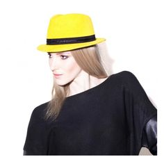 Mademoiselle Slassi Yellow Trilby Taxi! ($382) ❤ liked on Polyvore featuring accessories, hats, striped hat, crown hat, trilby hat, brimmed hat and stripe hat