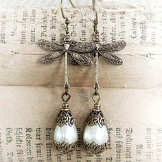I made an exact pair like this!!  Crazy!! Vintage Dragonfly Earrings