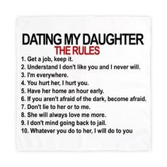 List of rules for dating my daughter