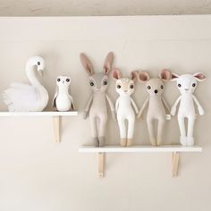 These are the sweetest little handmade dolls I ever saw!!! I need that bunny friend. or the swan. Or the MICE!