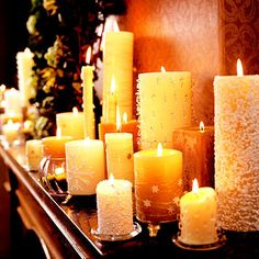 Let beautiful mantel decor turn your fireplace into an eye-catching focal point for the holidays. We have Christmas mantel decorating ideas for every style and budget. All Things Christmas, White Christmas, Christmas Holidays, Beautiful Christmas, Candle Lanterns, Pillar Candles, Fireplace Candles, Buy Candles, Mantle
