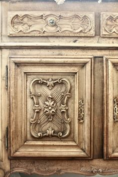 Antique Carved Sideboard Redo Reveal - French Country Cottage Deco Furniture, Antique Furniture, Furniture Redo, Antique Cupboard, Huge Mirror, French Country Cottage, Crossed Fingers, Raw Wood, Wine Country