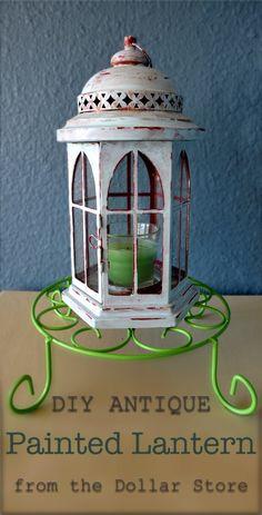 DIY antique painted lantern