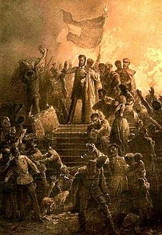 Hungarian Revolution: Artist Mihály Zichy's painting of Sándor Petőfi reciting the National Poem to a crowd on March 1848 Hungary History, Age Of King, Die Revolution, Grand Prince, Saint Stephen, Germany And Italy, United States Army, D Day, History Books