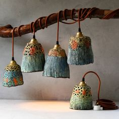 Ceramic pendant lights and pottery handmade by Madeline King on the Sunshine Coast Australia. Small batches of handmade ceramic lamp shades, ceramic lamps, pottery pendant lights, ceramic plant pots, ceramic bells and ceramic decor. Ceramic Light, Ceramic Pendant, Ceramic Clay, Ceramic Pottery, Ceramic Lamps, Pottery Teapots, Clay Projects, Clay Crafts, Diy And Crafts