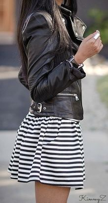 This link is dead, but the outfit is too cute! Striped dress flared out at the waist and a leather jacket.  Women's Clothes Dresses,  Outfits , Ladies Accessories ,  Womens Fashion , Fashion Jewelry  , Fashionista  , Women's Fashion , Earrings, Accessories , Bracelets , Rings , #earrings #fashion #fashionista #sexy #style Purses , Handbags ,  Clutch , Clutch Purse