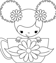 Stamping Bella Unmounted Rubber Stamp-Scarlett The Teacup Girl