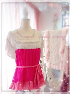Kumi Top - pink sakura spring dress leather designer couture  lace frenchlace chic classy fashion womenswear purselike organza vintage high-fashion fashion  https://www.facebook.com/emilycheongcouture