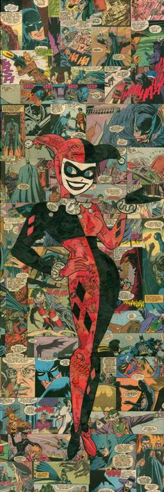 Giclee print of my comic collage representation of Harley Quinn, as originally done (and created) by the amazing Bruce Timm for. Catwoman, Comic Books Art, Comic Art, Comic Collage, Joker Y Harley Quinn, Es Der Clown, D Mark, Bruce Timm, Gotham Girls