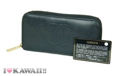 Auth CHANEL Black Caviar Skin Zip Around Long Coin Purse Wallet Free Shipping!