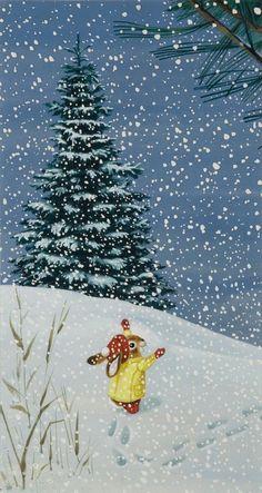 Richard Scarry illustration, I am a Bunny, written by Ole Ransom Richard Scarry, Christmas Pictures, Christmas Art, Winter Christmas, Vintage Christmas, Winter Illustration, Christmas Illustration, Children's Book Illustration, Book Illustrations